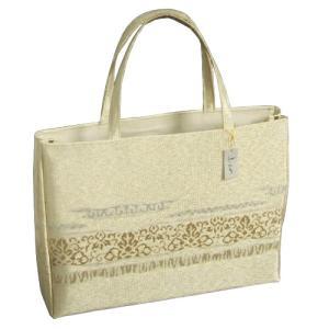 金襴バッグ 和洋兼用 礼装及びカジュアルスタイルのサブバッグ ゴールド 横型 手提げタイプ 有職文様 日本製|doresukimono-kyoubi