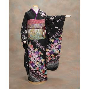正絹振袖仕立て上がり 成人式 黒地 ラメ 花柄  和小物セット付|doresukimono-kyoubi