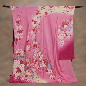正絹振袖 成人式 ピンク 桜 桜地紋 お仕立て無料 和小物セット付|doresukimono-kyoubi