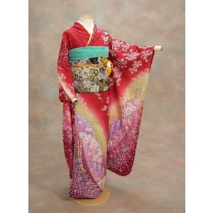 正絹振袖仕立て上がり 成人式 赤地 ラメ 辻が花  和小物セット付|doresukimono-kyoubi