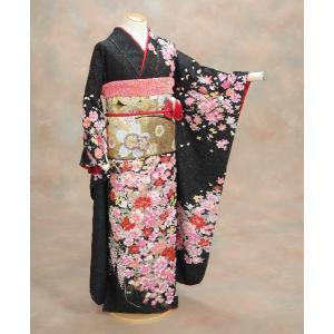 正絹振袖仕立て上がり 成人式 黒地 ラメ ピンク赤花柄  和小物セット付|doresukimono-kyoubi