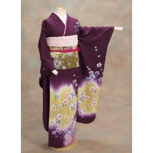 正絹振袖仕立て上がり 成人式 紫 ベージュぼかし  和小物セット付|doresukimono-kyoubi