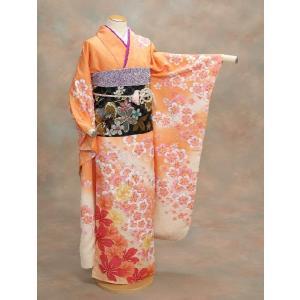 正絹振袖仕立て上がり 成人式 オレンジ ピンク桜  和小物セット付|doresukimono-kyoubi