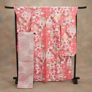 振袖仕立て上がり ピンク 桜 百合 HLブランド 5点セット 成人式 卒業式|doresukimono-kyoubi