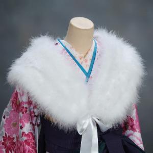 ショール 羽毛ストール りぼんタイプ 振袖 成人式 卒業式 結婚式|doresukimono-kyoubi