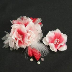 髪飾り 成人式 振袖 卒業袴 七五三 ピンク 白 コーム・ピンタイプ 2点セット 日本製|doresukimono-kyoubi