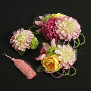 髪飾り 成人式 振袖 卒業袴 七五三 濃淡ピンク 白 コーム・ピンタイプ 4点セット 日本製