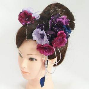 髪飾り 成人式 振袖 七五三着物 卒業袴 ドレスにも使えます 2個タイプ パープル ブルー コーム・ピンタイプ 日本製