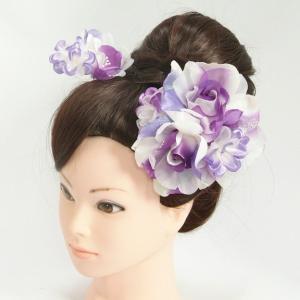 髪飾り 成人式 振袖 七五三着物 卒業袴 ドレスにも使えます 2個タイプ パープル ホワイト コーム・ピンタイプ 日本製