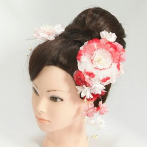 髪飾り 成人式 振袖 七五三着物 卒業袴 ドレスにも使えます 2個タイプ ピンク ホワイト レッド コーム・ピンタイプ 2点セット 日本製
