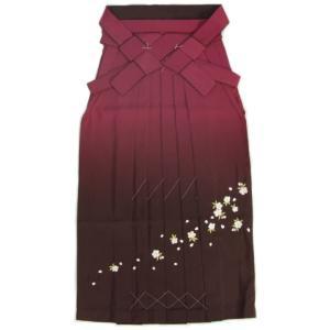 卒業袴 卒業式 エンジ 濃淡ぼかし 桜刺繍 へら付き 特価品 S、M、L、LL、3L