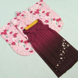 卒業袴着物フルセット HLブランド 卒業式 ピンク 芍薬 桜刺繍濃淡ボカシ袴 レンタルよりお値打ちな13点セット|doresukimono-kyoubi