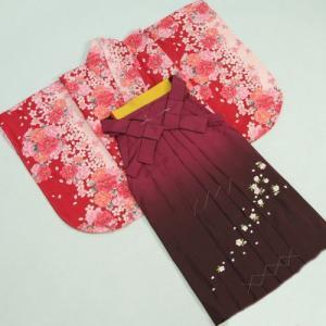 卒業袴着物フルセット HLブランド 卒業式 赤×ピンク 桜 桜刺繍濃淡ボカシ袴 レンタルよりお値打ちな13点セット|doresukimono-kyoubi
