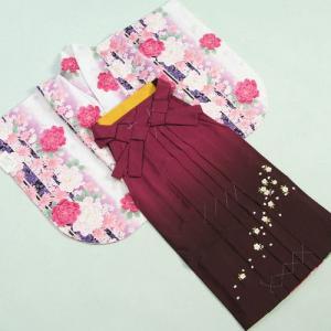 卒業袴着物フルセット 卒業式 白 桜刺繍濃淡ボカシ袴 レンタルよりお値打ちな13点セット|doresukimono-kyoubi