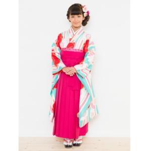 小学生 卒業袴着物4点セット 花ひめブランド ジュニアサイズ 水色 ピンク白縞 濃ピンク刺繍袴 ピンク黄色両面帯 十三参りとしても御使用出来ます|doresukimono-kyoubi