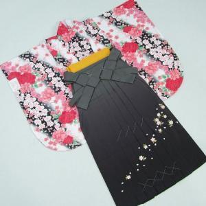 卒業袴着物フルセット 卒業式 白地黒グラデーション 桜刺繍濃淡ボカシ袴 レンタルよりお値打ちな13点セット|doresukimono-kyoubi