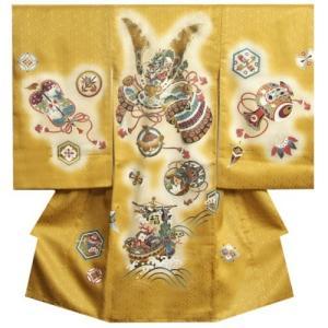 お宮参り 着物 男 正絹初着 男の子用産着 金茶ぼかし 兜 宝船 金糸刺繍使い サヤ地紋 日本製|doresukimono-kyoubi