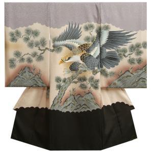 お宮参り 着物 男 正絹初着 男の子用産着 シルバーグレー染め分け 鷹 刺繍使い まだら地紋生地 日本製