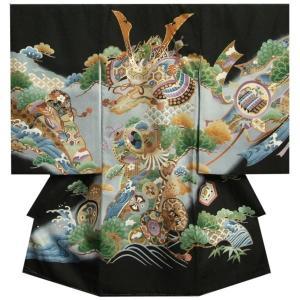 宮参り 着物 男 正絹男児初着 黒 兜 松竹梅 金糸使い 赤ちゃん着物 |doresukimono-kyoubi
