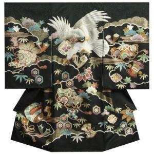 お宮参り 着物 男 正絹初着 男の子用産着 黒 白鷹 刺繍使い 宝尽くし まだら地紋 日本製|doresukimono-kyoubi