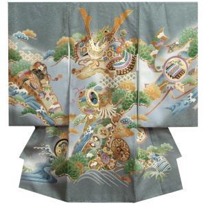 お宮参り着物 正絹男児初着 男の子用産着 濃ベージュ 兜 松竹梅 金糸刺繍使い まだら紋|doresukimono-kyoubi