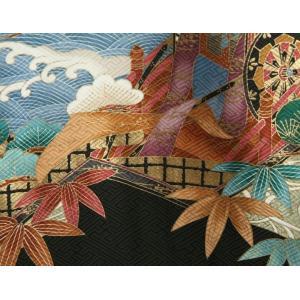 お宮参り 着物 男の子 正絹男児初着 黒 グレー 鷹 金彩絵巻文様 地紋生地|doresukimono-kyoubi|05