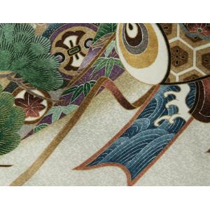 お宮参り 着物 男の子 赤ちゃん 正絹初着 白 金糸刺繍鷹 松竹梅 小槌 まだら地紋|doresukimono-kyoubi|06