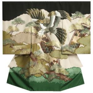 お宮参り 着物 男 正絹初着 黒緑裾染め分け 鷹  金彩使い 金括り松 精華生地 日本製