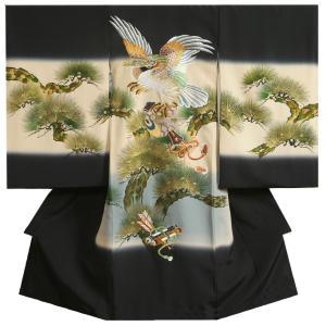 お宮参り 着物 男の子 正絹初着 濃紺 総刺繍見返り鷹 鎧威し昇り鯉 金彩波型 変わり無地精華生地 日本製