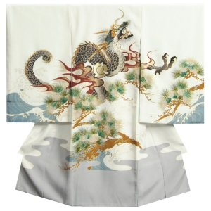 お宮参り 着物 男の子 正絹初着 赤ちゃん 白 龍 裾灰色染め分け 刺繍使い 精華生地 日本製