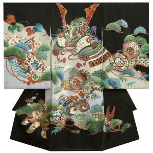 お宮参り 着物 男の子 正絹初着 男の子用産着 黒 三つ地兜 御城 松 |doresukimono-kyoubi