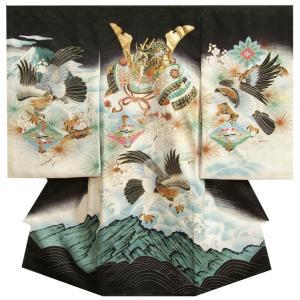 お宮参り 着物 正絹 男の子 初着 産着 黒 兜 流水に片輪車 亀甲四つ菱 地紋生地|doresukimono-kyoubi