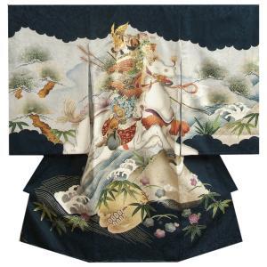 お宮参り着物 正絹男児初着 男の子用産着 黒 騎馬武者絵図 五条橋 金糸刺繍使い まだら地紋生地|doresukimono-kyoubi