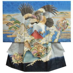 お宮参り 着物 男の子 正絹男児初着 青地 鷹 金糸刺繍使い 赤富士 菊桐菱地紋生地 日本製