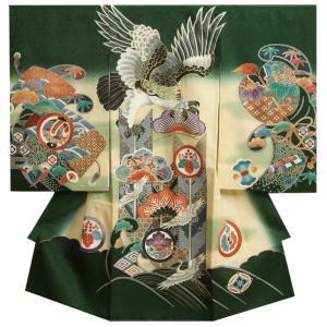 お宮参り 着物 男 正絹初着 緑色 鷹 騎馬武者 金糸刺繍使い 金彩 まだら地紋生地|doresukimono-kyoubi