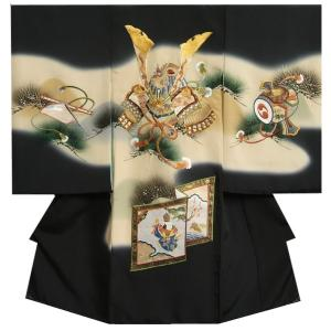 お宮参り 着物 男の子 正絹初着 総刺繍兜 帯地衝立 檜扇 金彩松葉 変わり無地精華生地 日本製