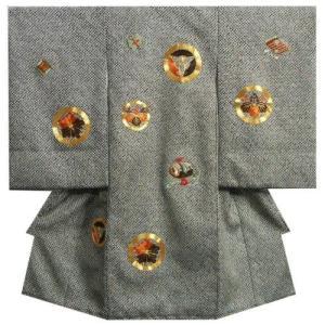 お宮参り 着物 男の子 正絹初着 黒色総手本絞り 柄総刺繍使い 三つ扇 五三桐 紋柄 金駒刺繍 日本製