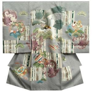 お宮参り 着物 男の子 正絹初着 産着 灰色 鷹 六龍図 刺繍使い 市松 菱紋地紋 日本製