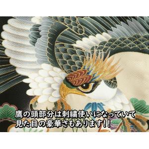 お宮参り 着物 男 正絹初着 男の子用産着 黒 鷹 松 ちりめん生地 doresukimono-kyoubi 03