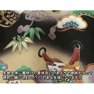 お宮参り 着物 男 正絹初着 男の子用産着 黒 鷹 松 ちりめん生地 doresukimono-kyoubi 06