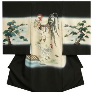 お宮参り 着物 男の子 正絹 初着 黒色 尾長鶏 松 手描き 手染め 変わり無地ちりめん生地 日本製
