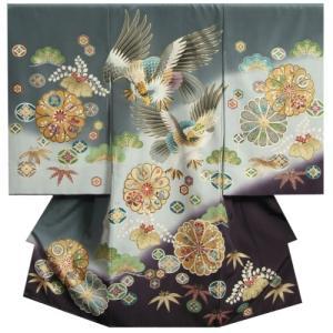 お宮参り 着物 男の子 正絹初着 産着 濃淡灰色染め分けぼかし 二羽鷹 刺繍使い 変わり無地精華生地 日本製