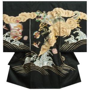 お宮参り 着物 男の子 正絹 男児初着 黒色 荒波昇龍柄 刺繍使い 金彩 サヤ地紋生地 日本製