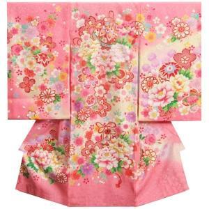 お宮参り 着物 女の子 正絹初着 ピンク 鈴 刺繍芍薬 金駒刺繍使い 地紋生地