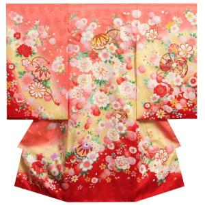 お宮参り 着物 女の子 正絹初着 濃ピンク裾赤染め分け まり 華尽くし文様 金コマ刺繍使い サヤ華地紋|doresukimono-kyoubi