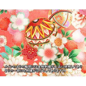 お宮参り 着物 女の子 正絹初着 濃ピンク裾赤染め分け まり 華尽くし文様 金コマ刺繍使い サヤ華地紋 doresukimono-kyoubi 03