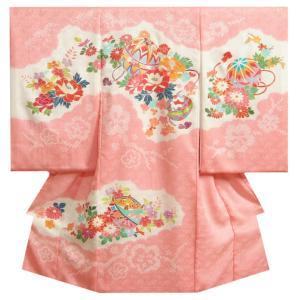 お宮参り 着物 女の子 赤ちゃん 正絹初着 ピンク 鈴 手描き 手染め 本手梅絞り 笠巻絞り 桜地紋 日本製
