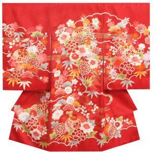 お宮参り 着物 女の子 正絹初着 女の子用産着 濃赤色 花車 貝桶 刺繍芍薬 金駒刺繍 サヤ地紋 日本製