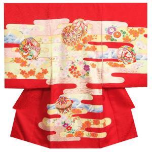お宮参り 着物 女の子 正絹初着 赤 ピンク黄色ヱ霞 まり 金コマ刺繍 サヤ本地紋 日本製