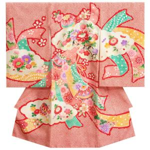 宮参り 着物 女の子 正絹初着 女の子用産着 赤色 総疋田柄 花車 扇面地紙 金糸刺繍使い|doresukimono-kyoubi
